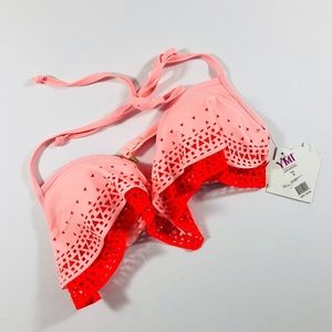 NWT YMI Pink Coral Laser Cut Bikini Top